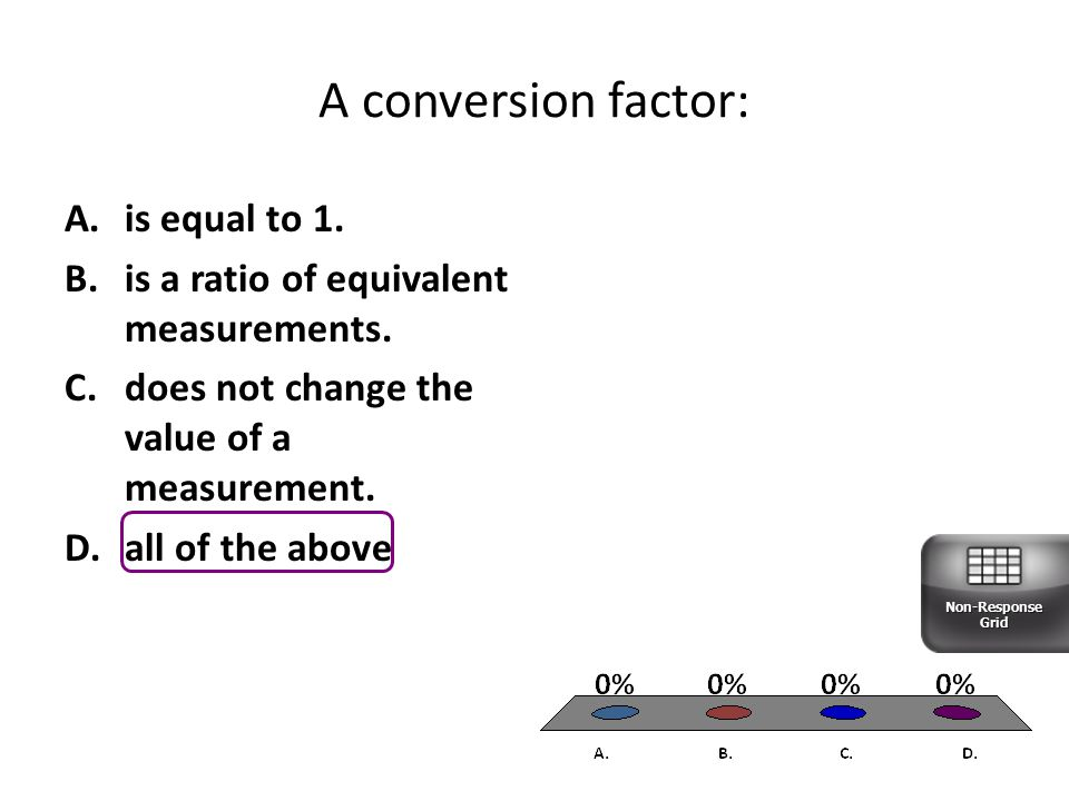 A conversion factor: A.is equal to 1.B.is a ratio of equivalent measurements.