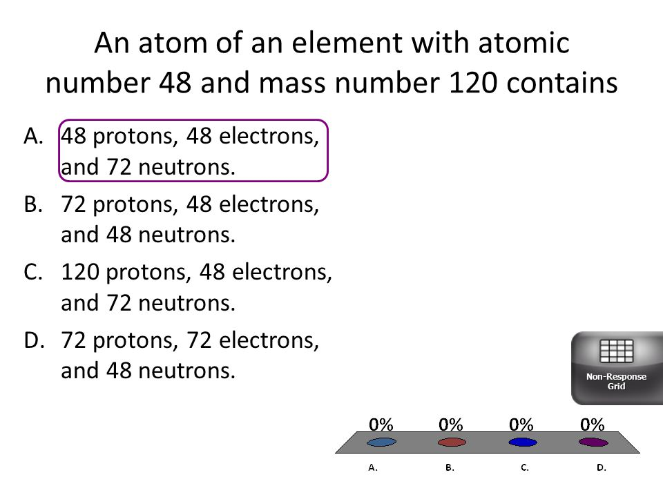 An atom of an element with atomic number 48 and mass number 120 contains A.48 protons, 48 electrons, and 72 neutrons.