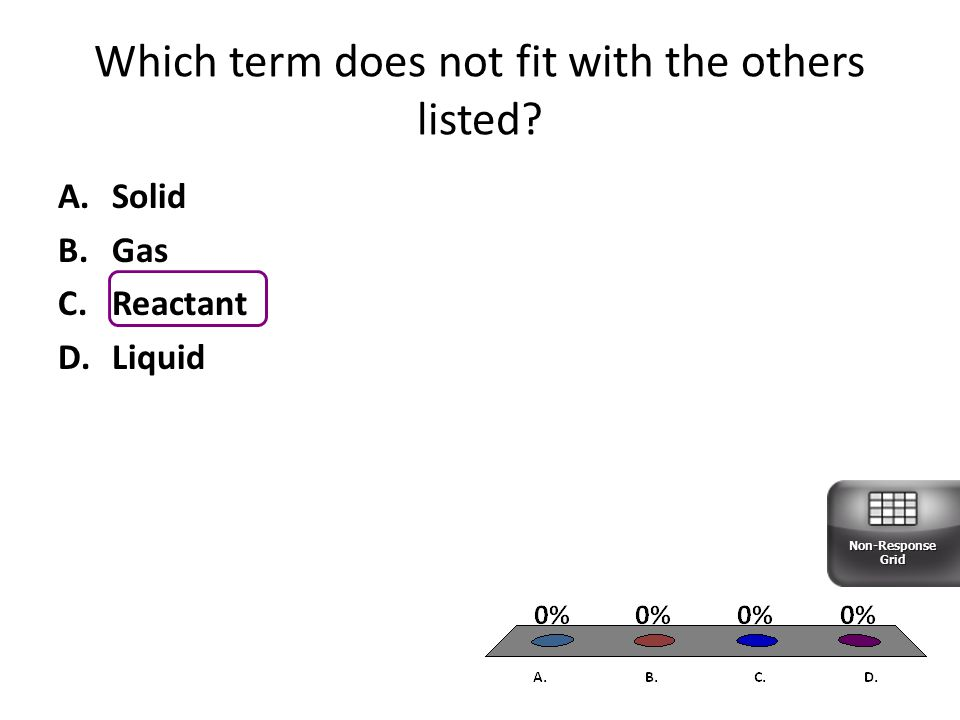 Which term does not fit with the others listed? A.Solid B.Gas C.Reactant D.Liquid Non-Response Grid