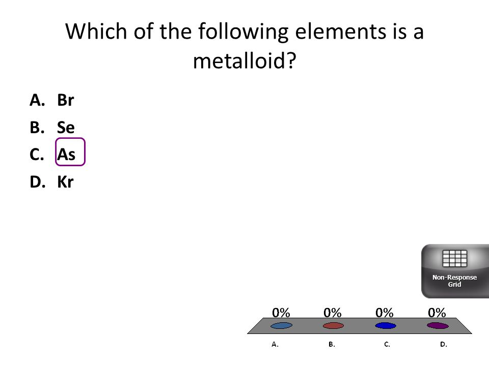 Which of the following elements is a metalloid? A.Br B.Se C.As D.Kr Non-Response Grid
