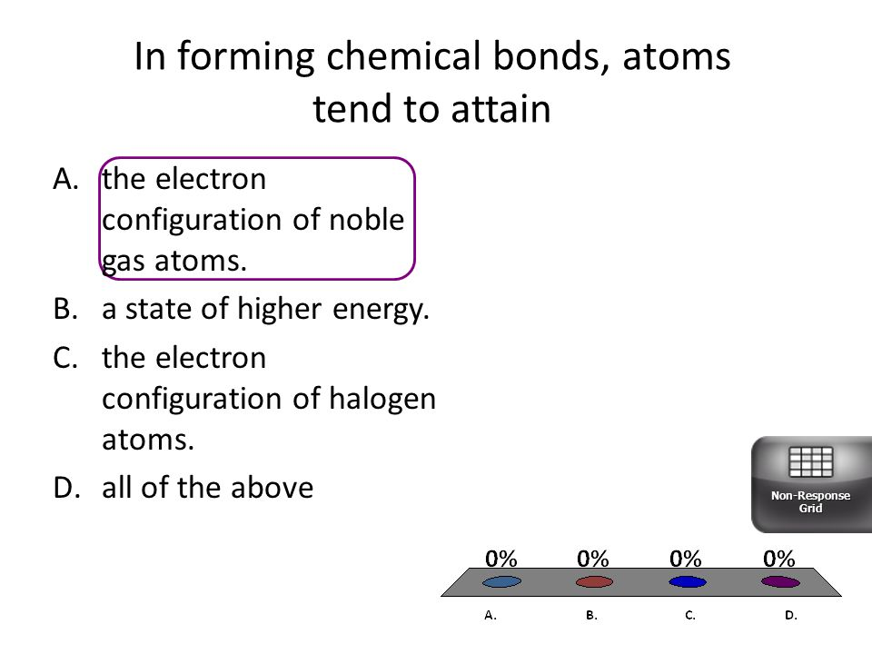 In forming chemical bonds, atoms tend to attain A.the electron configuration of noble gas atoms.