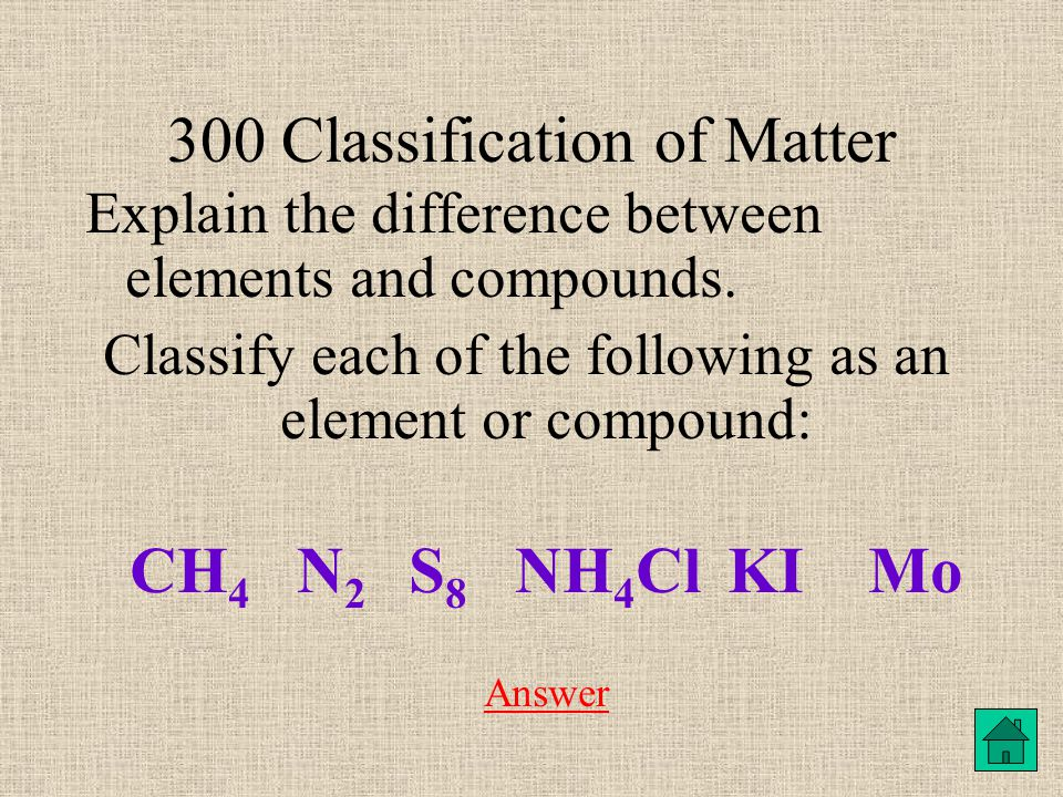300 Classification of Matter Explain the difference between elements and compounds.