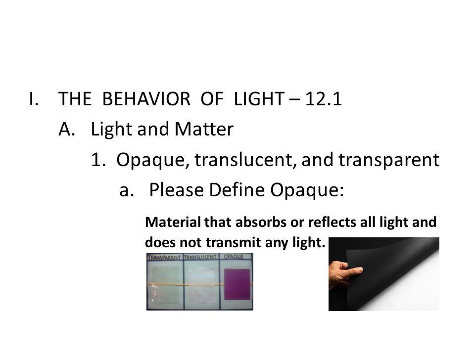 I.THE BEHAVIOR OF LIGHT – 12.1 A.Light and Matter 1.