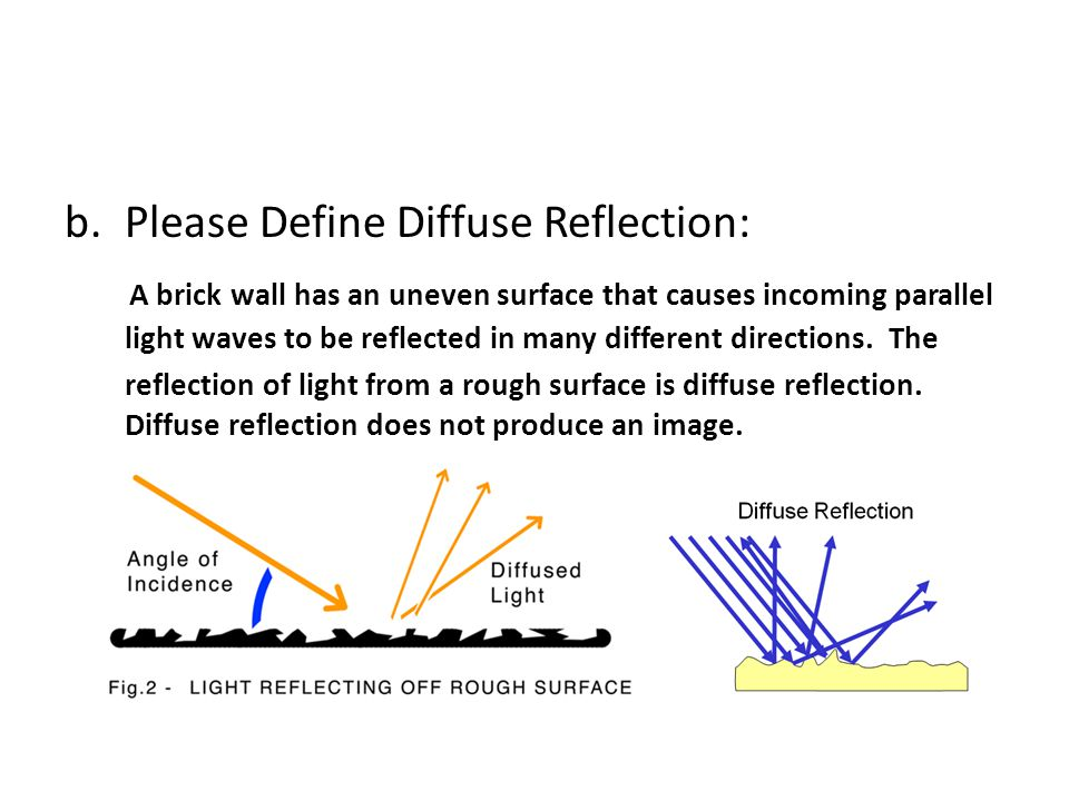 b.Please Define Diffuse Reflection: A brick wall has an uneven surface that causes incoming parallel light waves to be reflected in many different dir