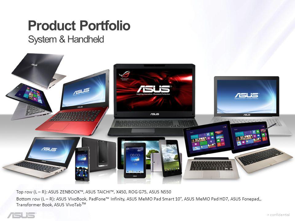 System & Handheld Product Portfolio Top row (L – R): ASUS ZENBOOK™, ASUS TAICHI™, X450, ROG G75, ASUS N550 Bottom row (L – R): ASUS VivoBook, PadFone™
