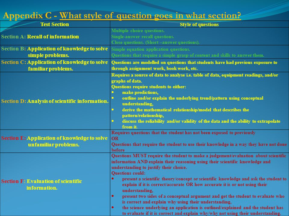Test Section Style of questions Section A: Recall of information Multiple choice questions.