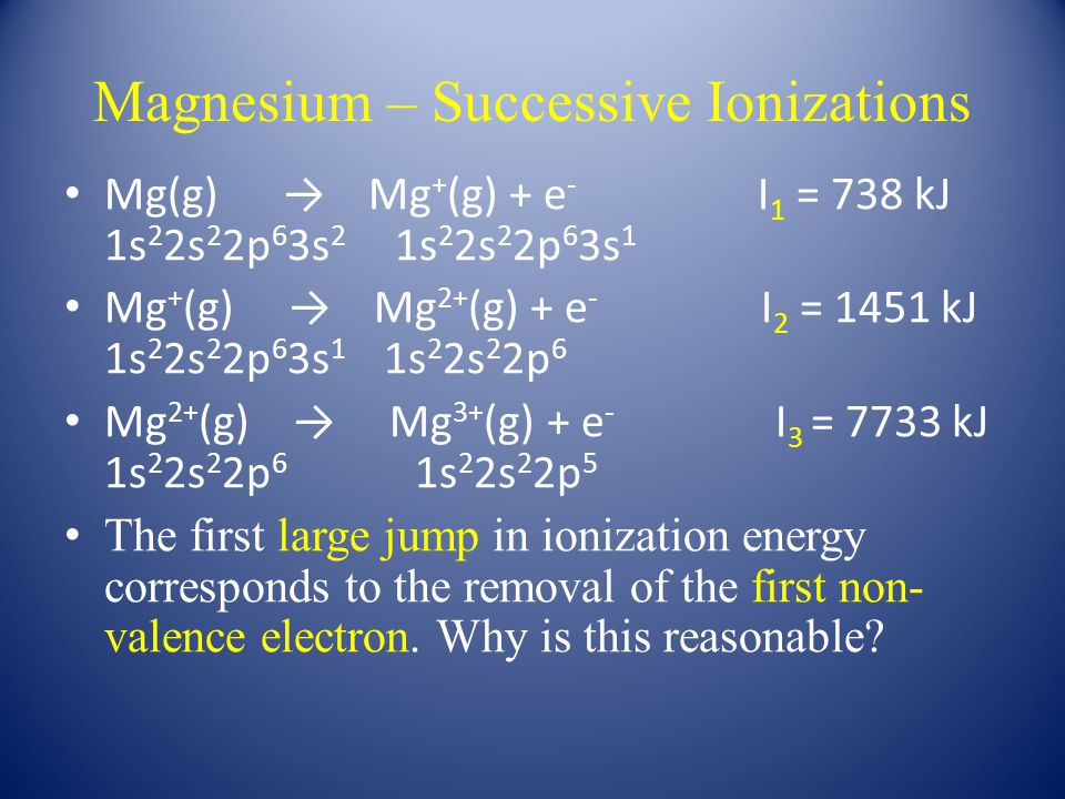 Magnesium – Successive Ionizations Mg(g) → Mg + (g) + e - I 1 = 738 kJ 1s 2 2s 2 2p 6 3s 2 1s 2 2s 2 2p 6 3s 1 Mg + (g) → Mg 2+ (g) + e - I 2 = 1451 kJ 1s 2 2s 2 2p 6 3s 1 1s 2 2s 2 2p 6 Mg 2+ (g) → Mg 3+ (g) + e - I 3 = 7733 kJ 1s 2 2s 2 2p 6 1s 2 2s 2 2p 5 The first large jump in ionization energy corresponds to the removal of the first non- valence electron.
