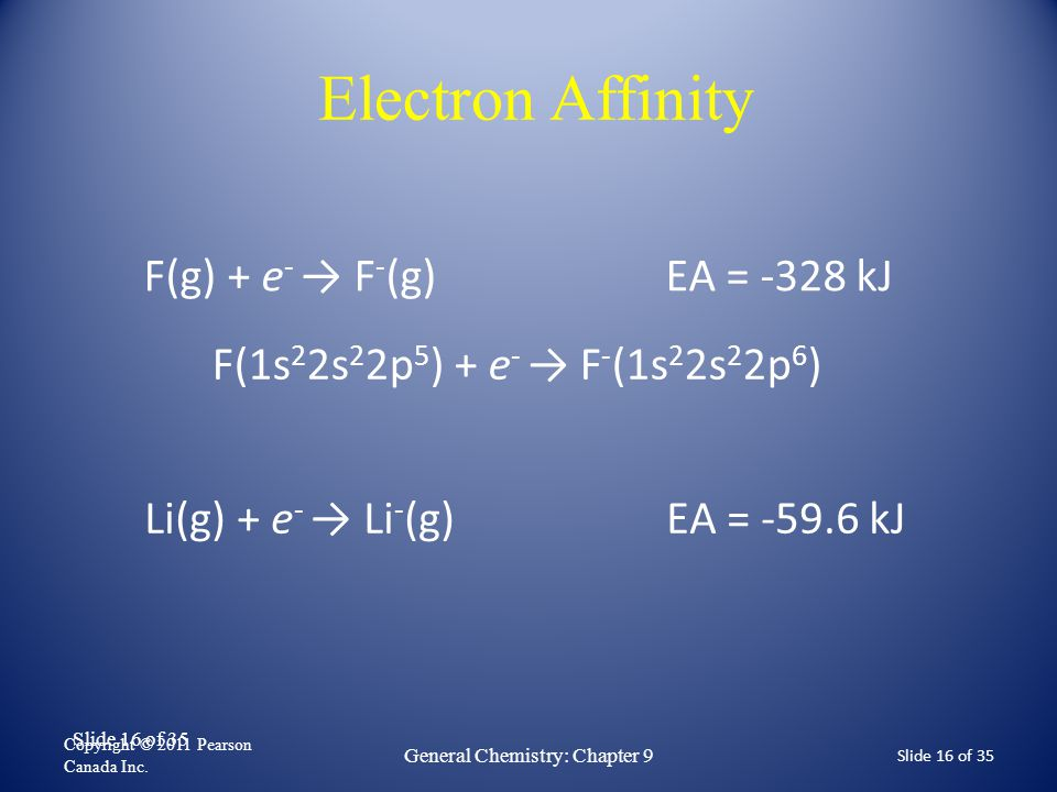 Slide 16 of 35 Electron Affinity F(g) + e - → F - (g) EA = -328 kJ Copyright © 2011 Pearson Canada Inc. General Chemistry: Chapter 9 Slide 16 of 35 F(