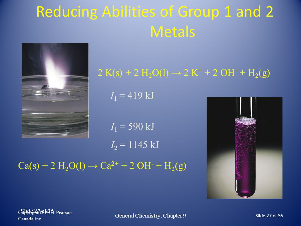 Slide 27 of 35 Reducing Abilities of Group 1 and 2 Metals Copyright © 2011 Pearson Canada Inc. Slide 27 of 35 General Chemistry: Chapter 9 2 K(s) + 2