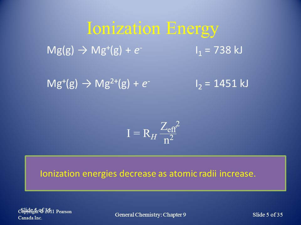 Ionization Energies – Group Trends For chemical families (Groups) ionization energies drop as atomic radii increase.