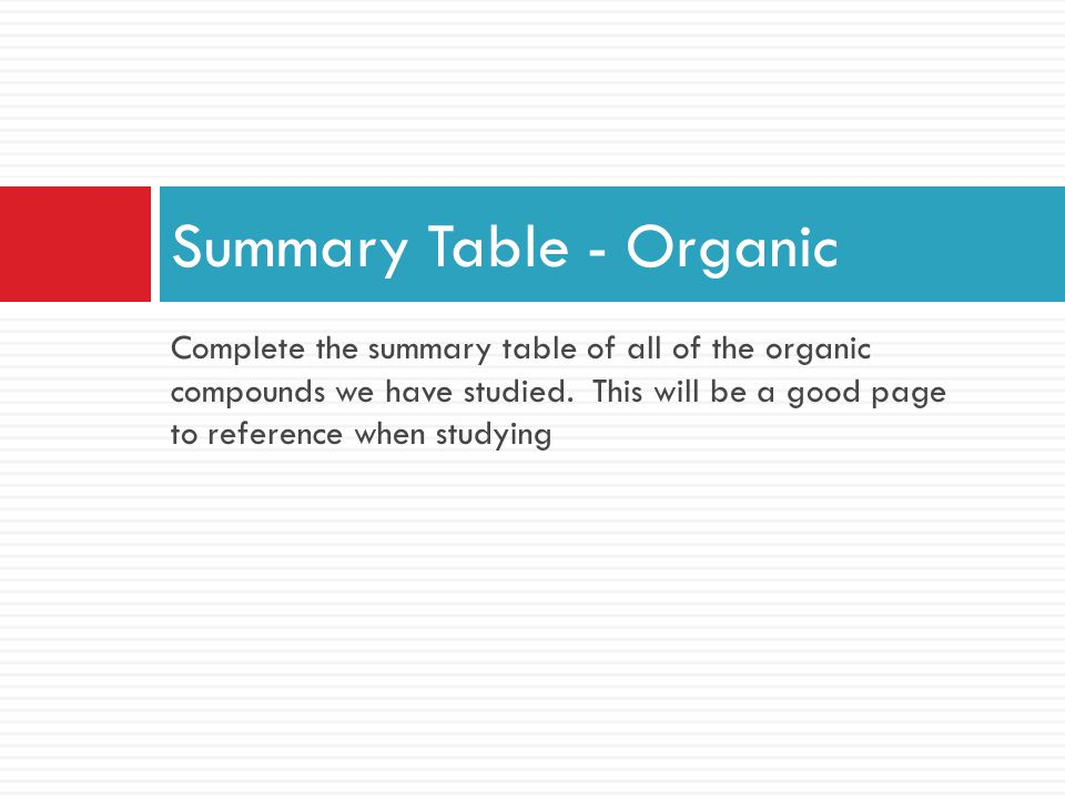 Summary Table - Organic Complete the summary table of all of the organic compounds we have studied. This will be a good page to reference when studyin