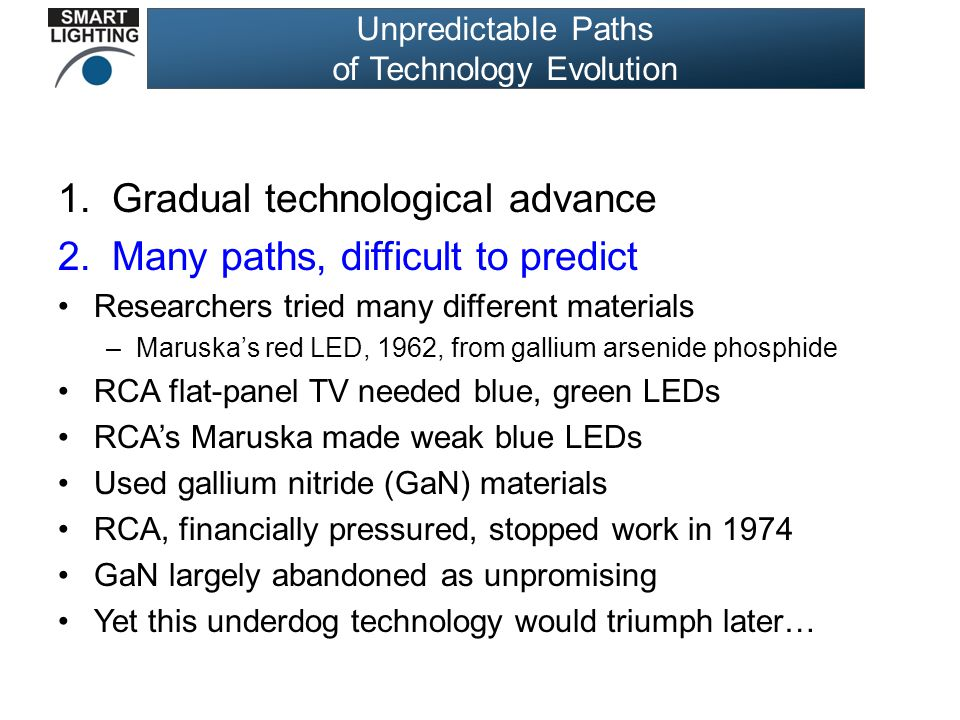 Unpredictable Paths of Technology Evolution 1.Gradual technological advance 2.Many paths, difficult to predict Researchers tried many different materials –Maruska's red LED, 1962, from gallium arsenide phosphide RCA flat-panel TV needed blue, green LEDs RCA's Maruska made weak blue LEDs Used gallium nitride (GaN) materials RCA, financially pressured, stopped work in 1974 GaN largely abandoned as unpromising Yet this underdog technology would triumph later…