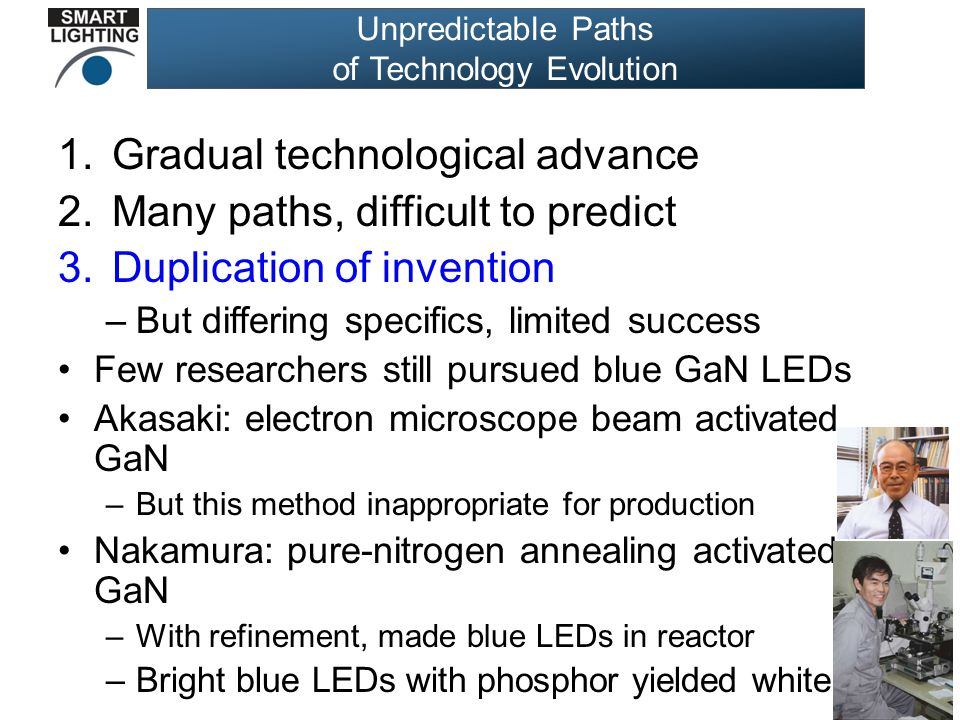 Unpredictable Paths of Technology Evolution 1.Gradual technological advance 2.Many paths, difficult to predict 3.Duplication of invention –But differing specifics, limited success Few researchers still pursued blue GaN LEDs Akasaki: electron microscope beam activated GaN –But this method inappropriate for production Nakamura: pure-nitrogen annealing activated GaN –With refinement, made blue LEDs in reactor –Bright blue LEDs with phosphor yielded white!
