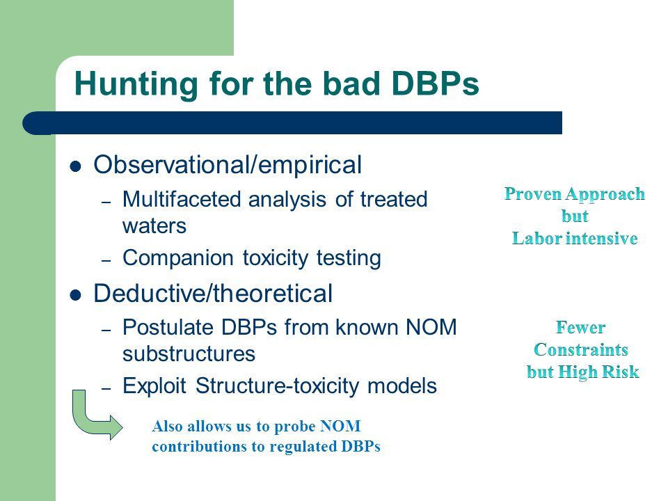 Hunting for the bad DBPs Observational/empirical – Multifaceted analysis of treated waters – Companion toxicity testing Deductive/theoretical – Postulate DBPs from known NOM substructures – Exploit Structure-toxicity models Also allows us to probe NOM contributions to regulated DBPs