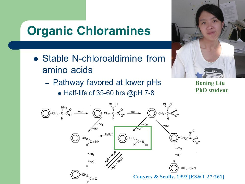 Organic Chloramines Stable N-chloroaldimine from amino acids – Pathway favored at lower pHs Half-life of 35-60 hrs @pH 7-8 Conyers & Scully, 1993 [ES&T 27:261] Boning Liu PhD student