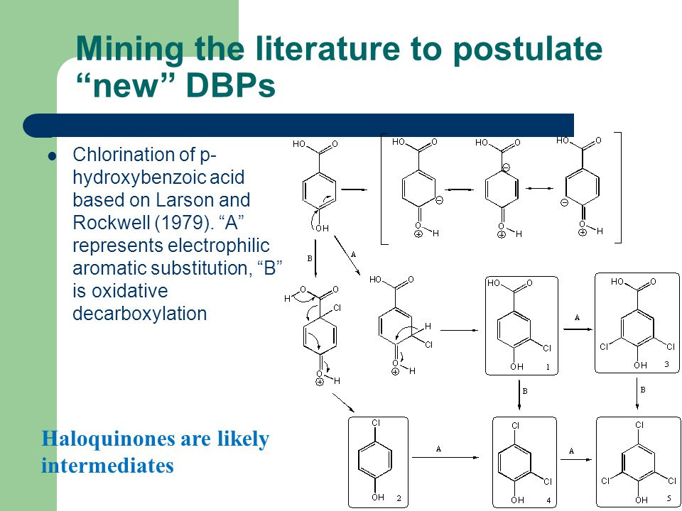 """Mining the literature to postulate """"new"""" DBPs Chlorination of p- hydroxybenzoic acid based on Larson and Rockwell (1979). """"A"""" represents electrophilic"""