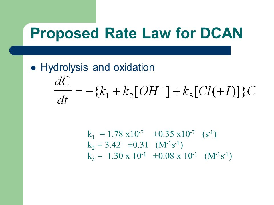 Hydrolysis and oxidation Proposed Rate Law for DCAN k 1 = 1.78 x10 -7 ±0.35 x10 -7 (s -1 ) k 2 = 3.42 ±0.31 (M -1 s -1 ) k 3 = 1.30 x 10 -1 ±0.08 x 10 -1 (M -1 s -1 )