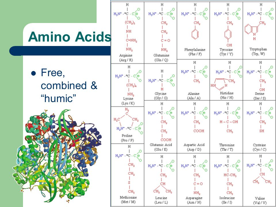 "Amino Acids Free, combined & ""humic"""