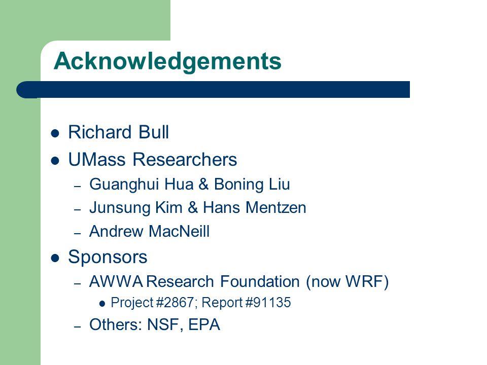 Acknowledgements Richard Bull UMass Researchers – Guanghui Hua & Boning Liu – Junsung Kim & Hans Mentzen – Andrew MacNeill Sponsors – AWWA Research Foundation (now WRF) Project #2867; Report #91135 – Others: NSF, EPA