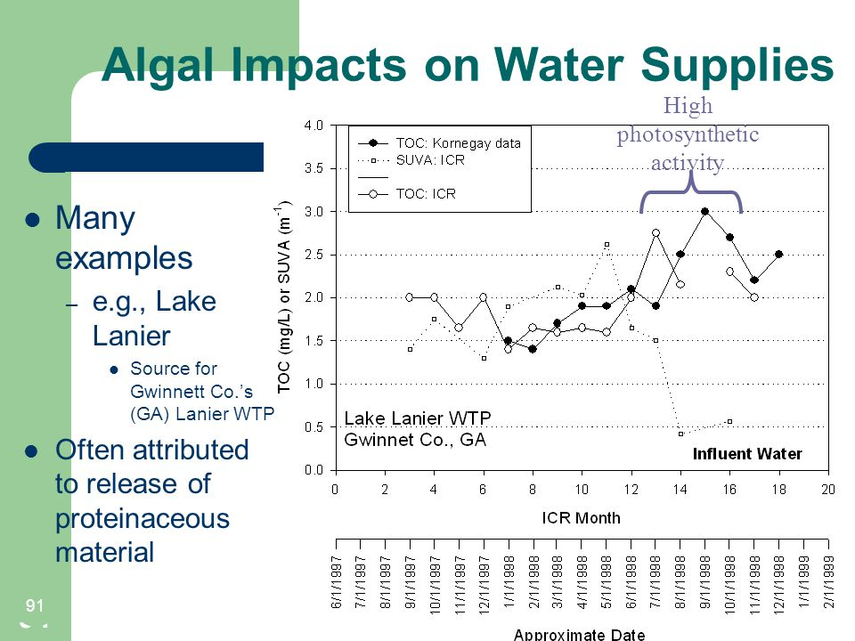 Algal Impacts on Water Supplies 91 High photosynthetic activity 91 Many examples – e.g., Lake Lanier Source for Gwinnett Co.'s (GA) Lanier WTP Often attributed to release of proteinaceous material