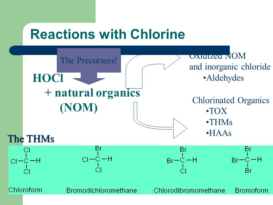 Reactions with Chlorine HOCl + natural organics (NOM) Oxidized NOM and inorganic chloride Aldehydes Chlorinated Organics TOX THMs HAAs The THMs The Pr