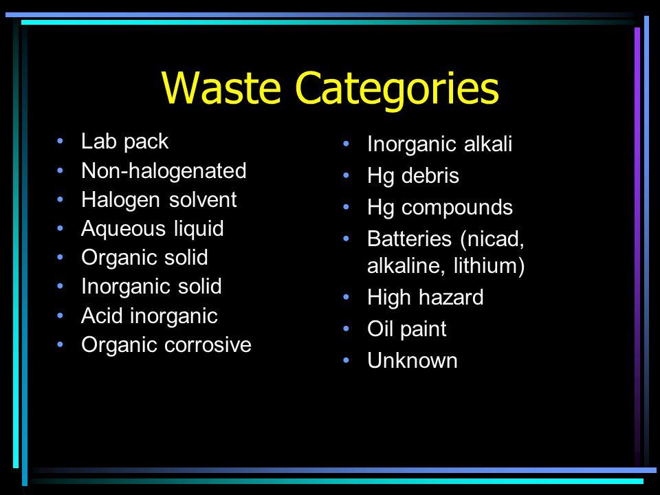 Waste Categories Lab pack Non-halogenated Halogen solvent Aqueous liquid Organic solid Inorganic solid Acid inorganic Organic corrosive Inorganic alkali Hg debris Hg compounds Batteries (nicad, alkaline, lithium) High hazard Oil paint Unknown