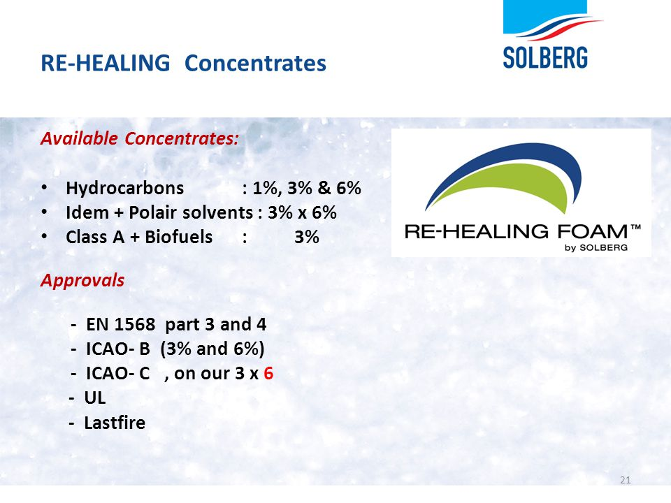 RE-HEALING Concentrates Available Concentrates: Hydrocarbons: 1%, 3% & 6% Idem + Polair solvents : 3% x 6% Class A + Biofuels: 3% Approvals - EN 1568