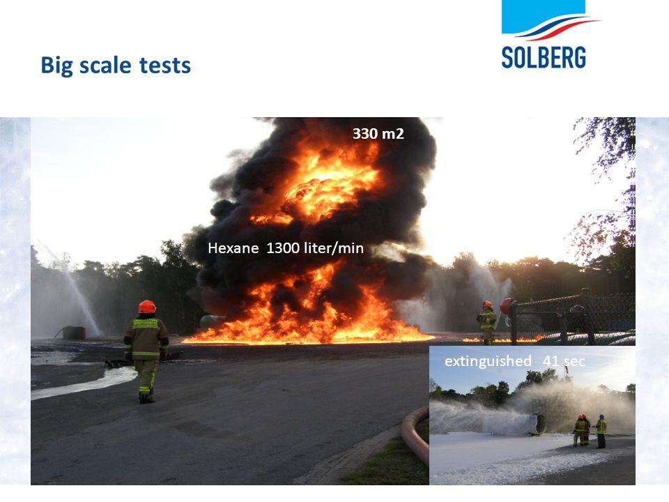 Big scale tests 25 330 m2 Hexane 1300 liter/min extinguished 41 sec
