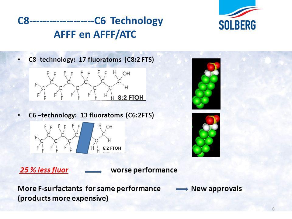 C8-------------------C6 Technology AFFF en AFFF/ATC C8 -technology: 17 fluoratoms (C8:2 FTS) C6 –technology: 13 fluoratoms (C6:2FTS) 25 % less fluor w