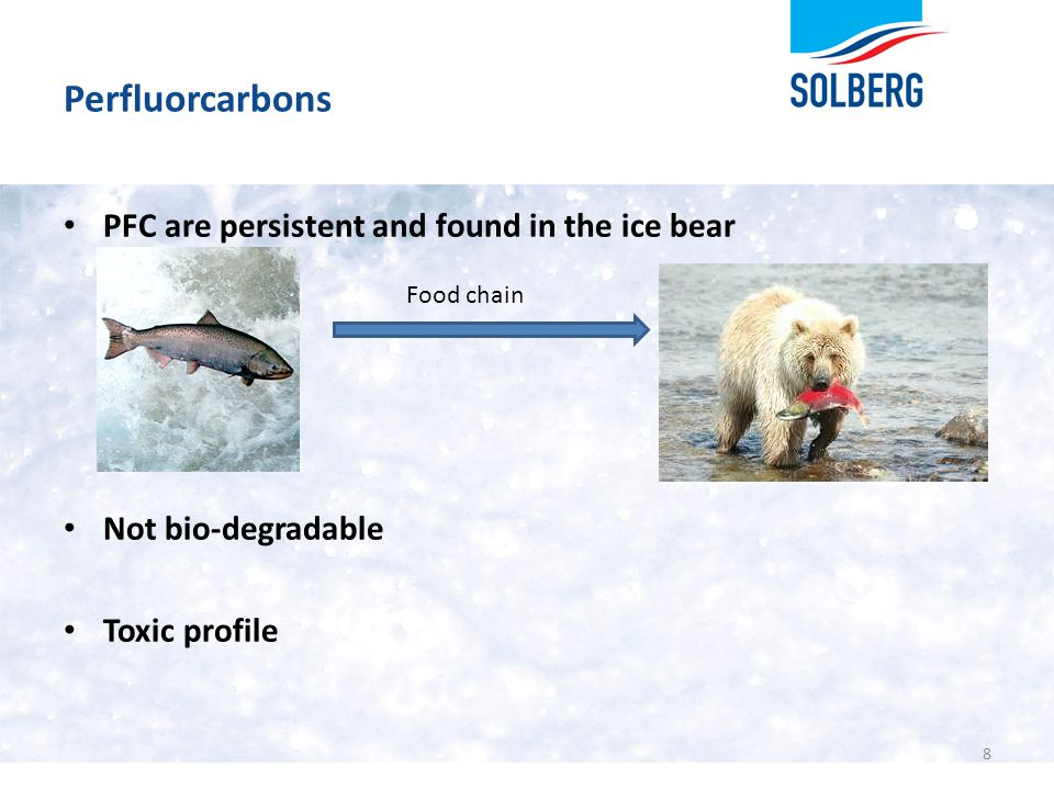 Perfluorcarbons 8 PFC are persistent and found in the ice bear Not bio-degradable Toxic profile Food chain