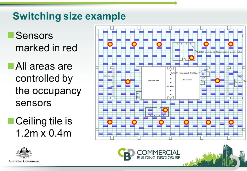 Switching size example Sensors marked in red All areas are controlled by the occupancy sensors Ceiling tile is 1.2m x 0.4m