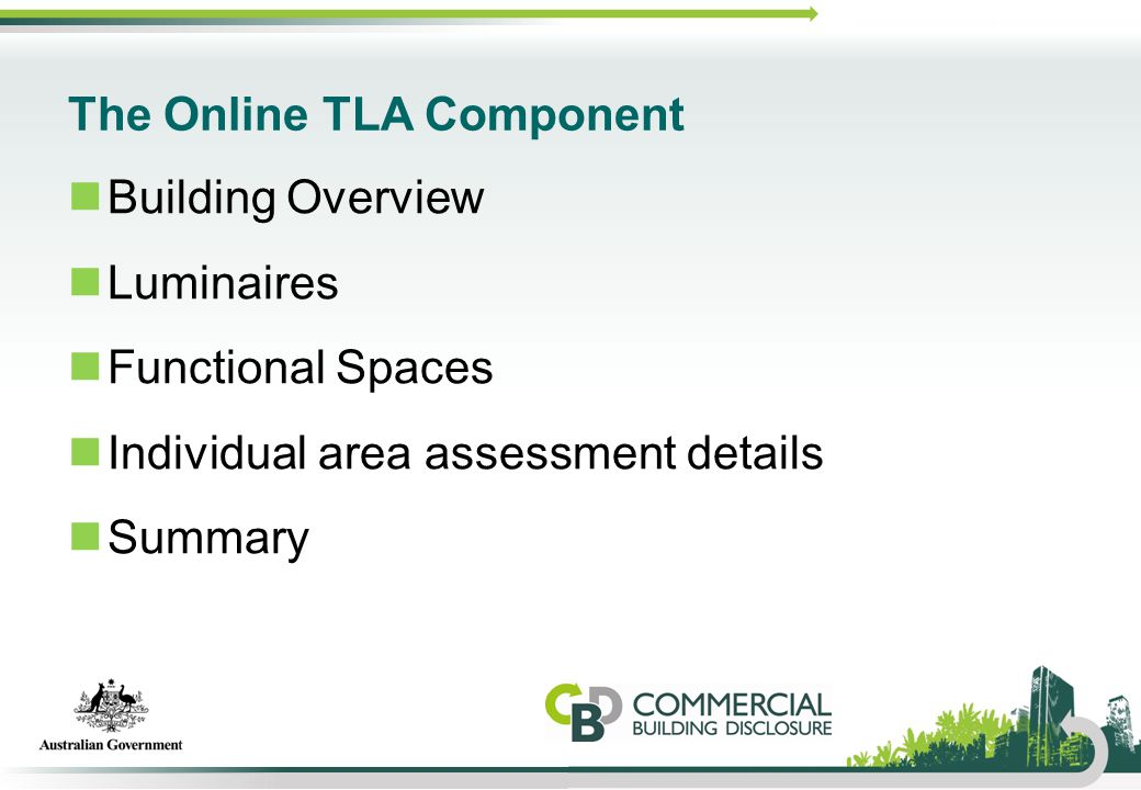 The Online TLA Component Building Overview Luminaires Functional Spaces Individual area assessment details Summary