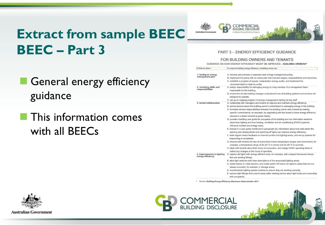 Extract from sample BEEC BEEC – Part 3 General energy efficiency guidance This information comes with all BEECs