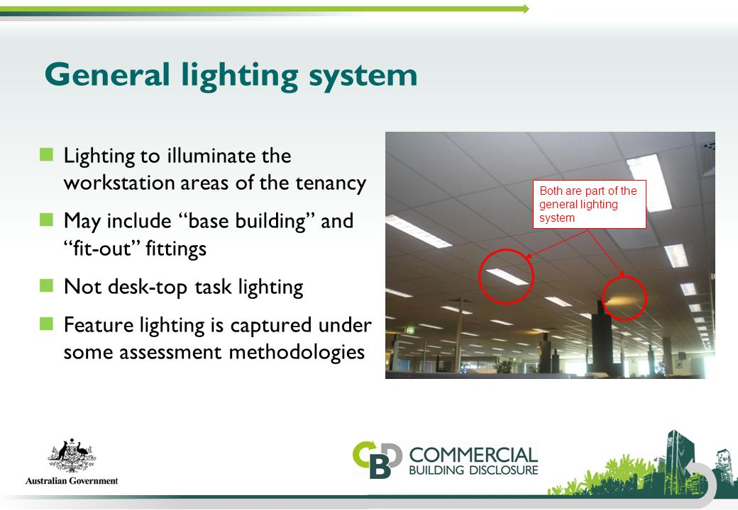"General lighting system Lighting to illuminate the workstation areas of the tenancy May include ""base building"" and ""fit-out"" fittings Not desk-top ta"