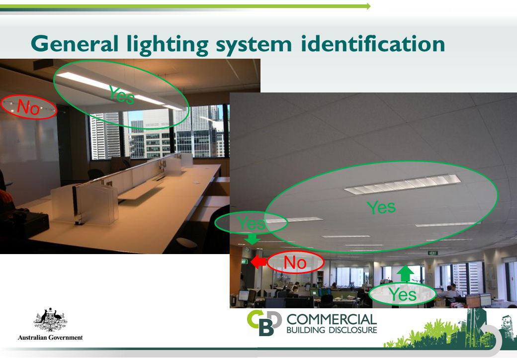 General lighting system identification Yes No Yes No Yes
