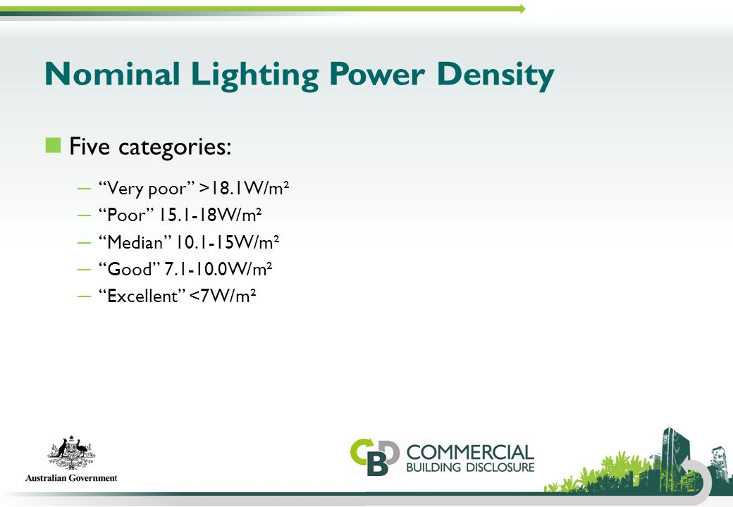 "Nominal Lighting Power Density Five categories: ─ ""Very poor"" >18.1W/m² ─ ""Poor"" 15.1-18W/m² ─ ""Median"" 10.1-15W/m² ─ ""Good"" 7.1-10.0W/m² ─ ""Excellent"