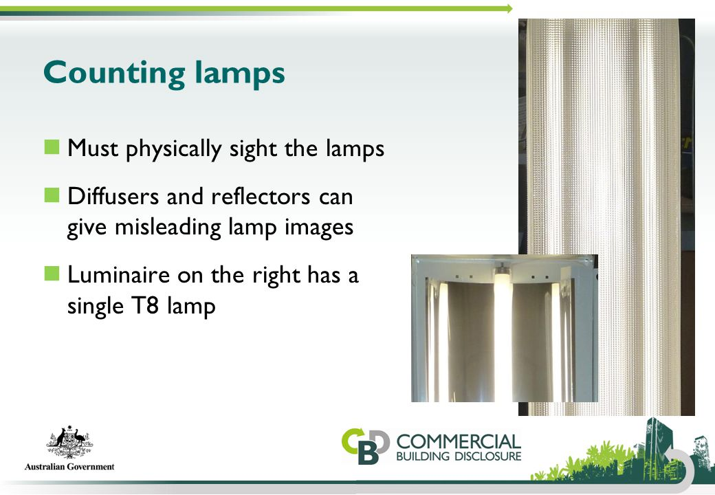 Counting lamps Must physically sight the lamps Diffusers and reflectors can give misleading lamp images Luminaire on the right has a single T8 lamp