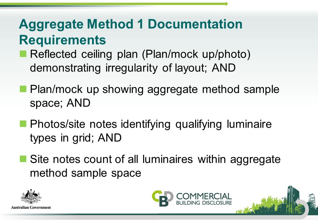 Aggregate Method 1 Documentation Requirements Reflected ceiling plan (Plan/mock up/photo) demonstrating irregularity of layout; AND Plan/mock up showi