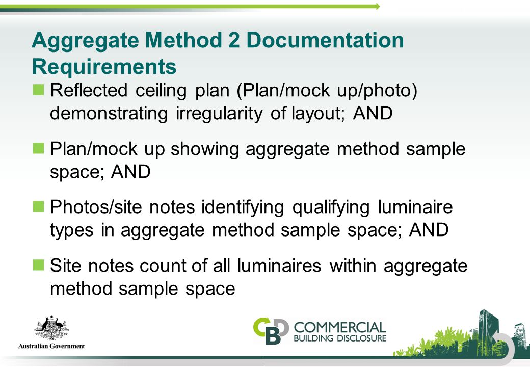 Aggregate Method 2 Documentation Requirements Reflected ceiling plan (Plan/mock up/photo) demonstrating irregularity of layout; AND Plan/mock up showi