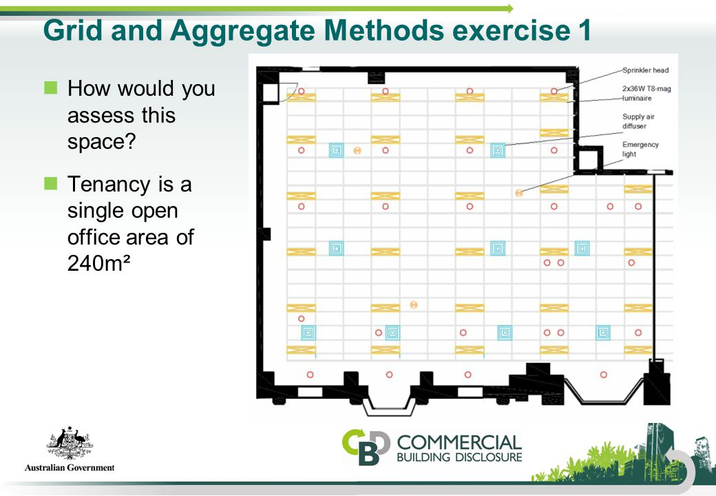 Grid and Aggregate Methods exercise 1 How would you assess this space? Tenancy is a single open office area of 240m²