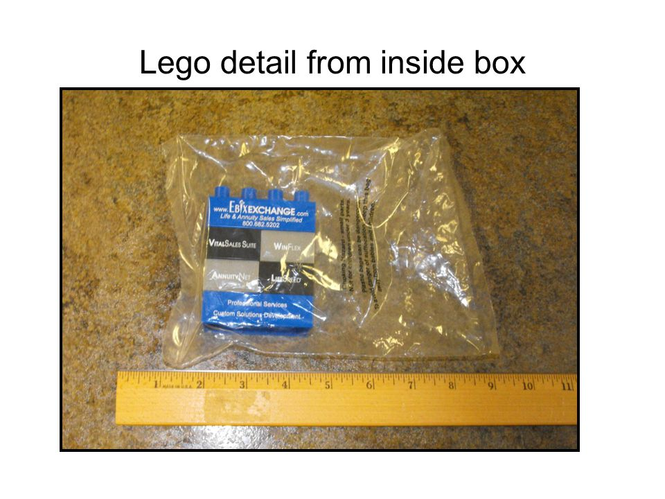 Lego detail from inside box
