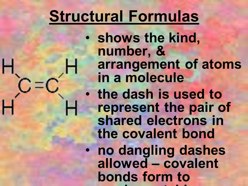Structural Formulas shows the kind, number, & arrangement of atoms in a molecule the dash is used to represent the pair of shared electrons in the covalent bond no dangling dashes allowed – covalent bonds form to produce stable compounds