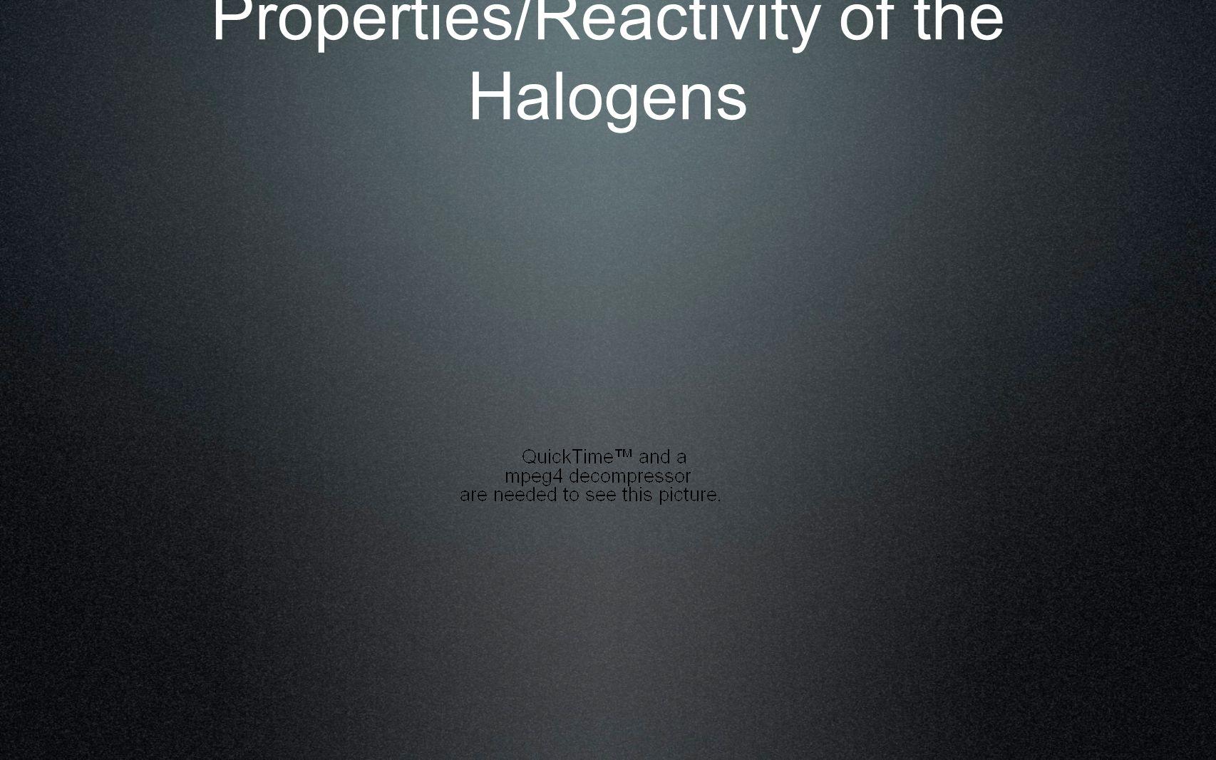 Properties/Reactivity of the Halogens
