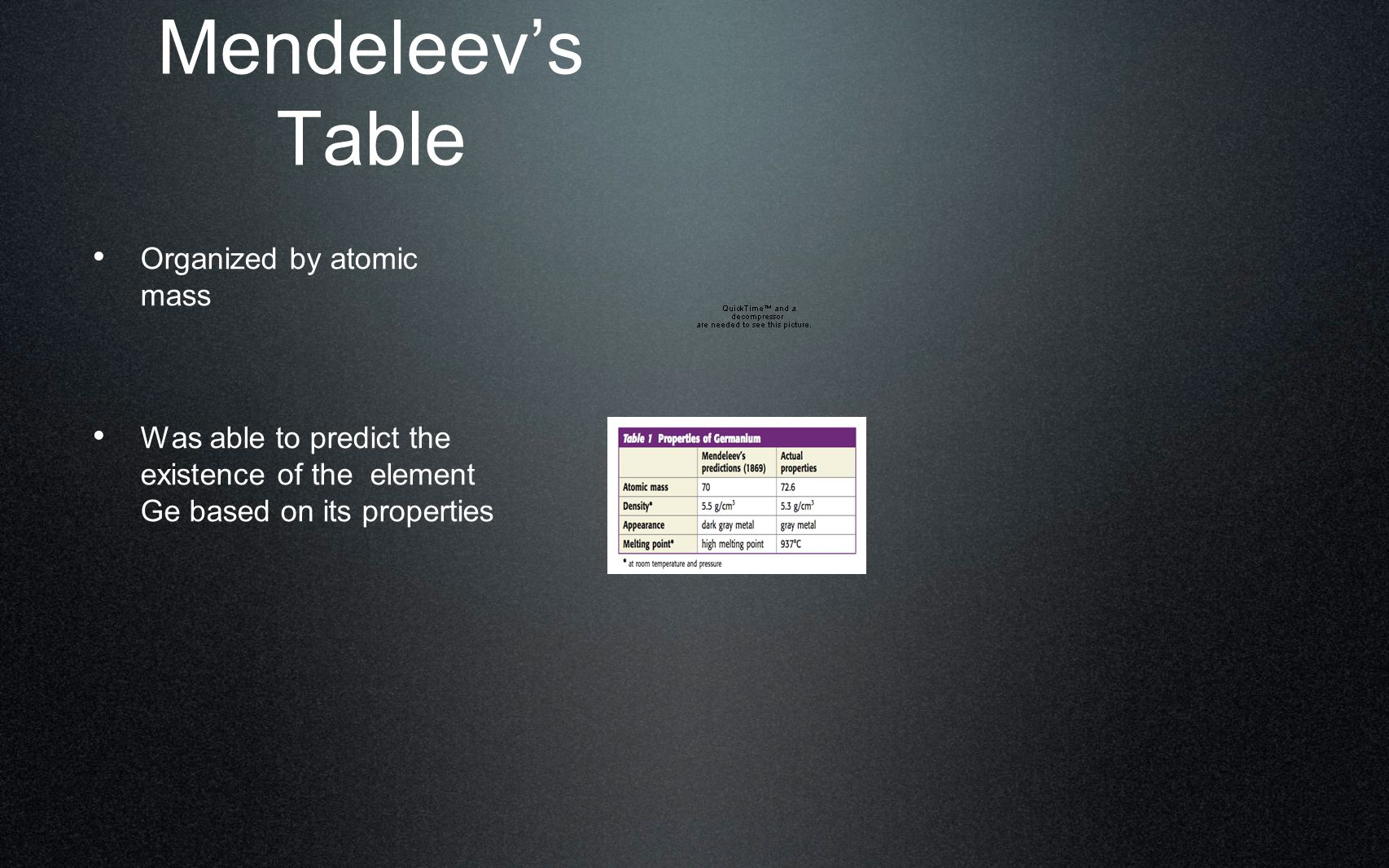 Mendeleev's Table Organized by atomic mass Was able to predict the existence of the element Ge based on its properties
