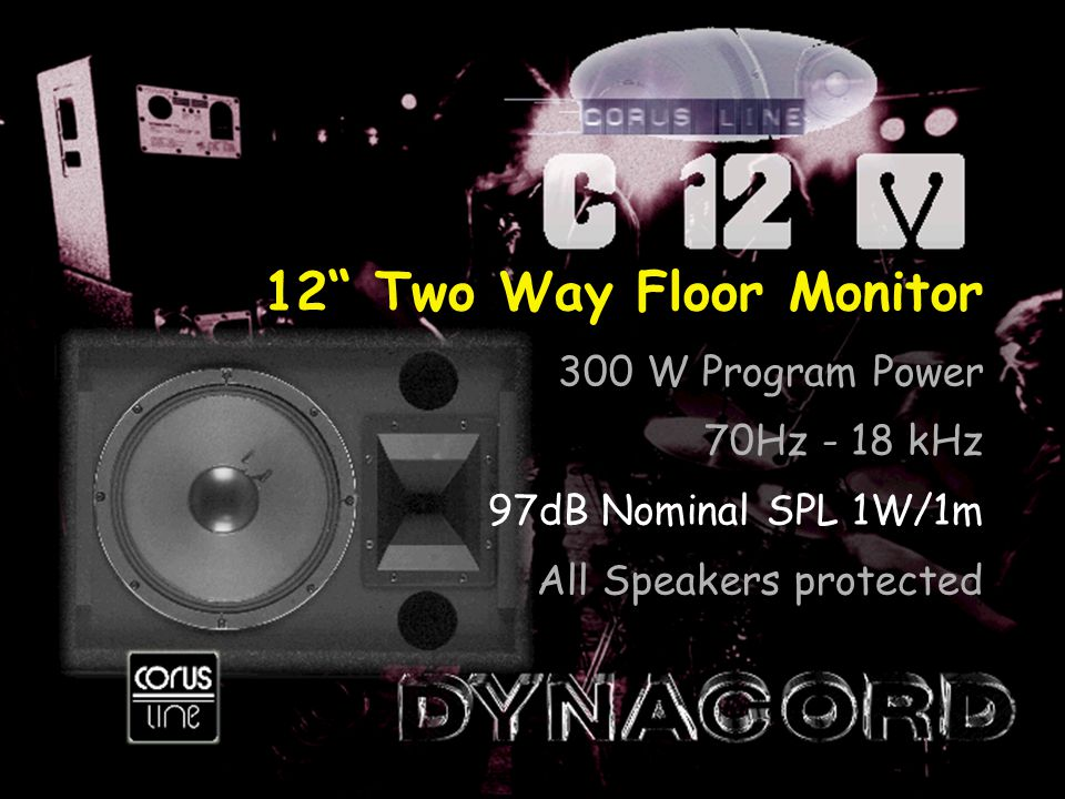 12 Two Way Floor Monitor 300 W Program Power 70Hz - 18 kHz 97dB Nominal SPL 1W/1m All Speakers protected