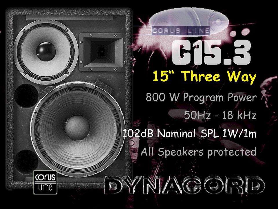 15 Three Way 800 W Program Power 50Hz - 18 kHz 102dB Nominal SPL 1W/1m All Speakers protected