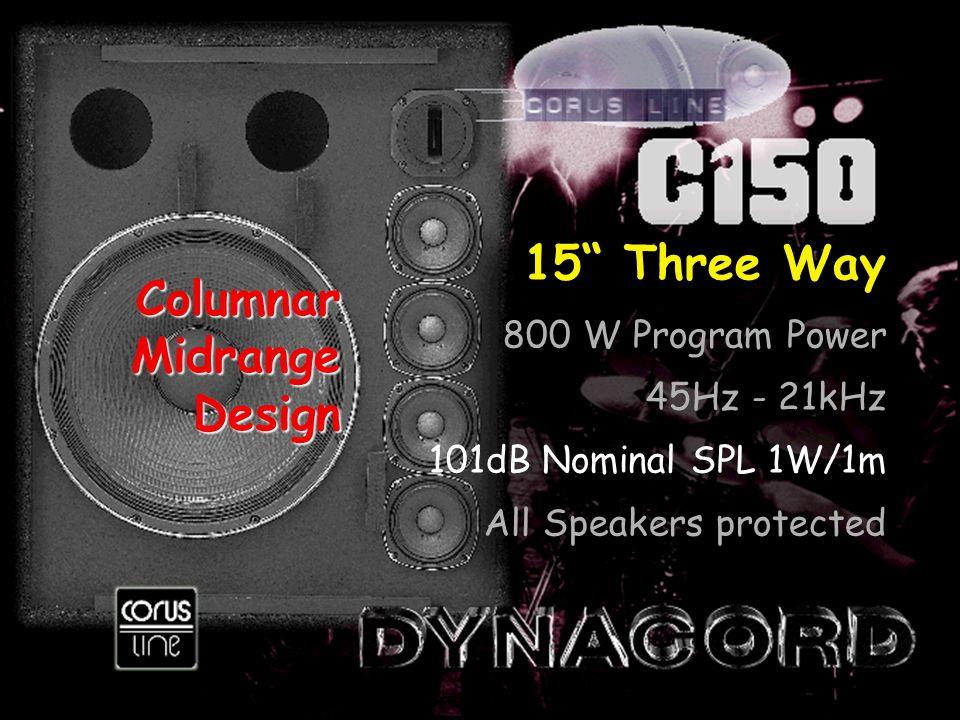 15 Three Way 800 W Program Power 45Hz - 21kHz 101dB Nominal SPL 1W/1m All Speakers protected ColumnarMidrangeDesign