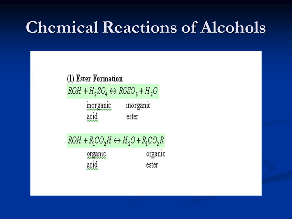 Chemical Reactions of Alcohols