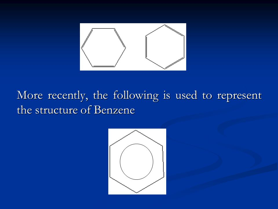 More recently, the following is used to represent the structure of Benzene