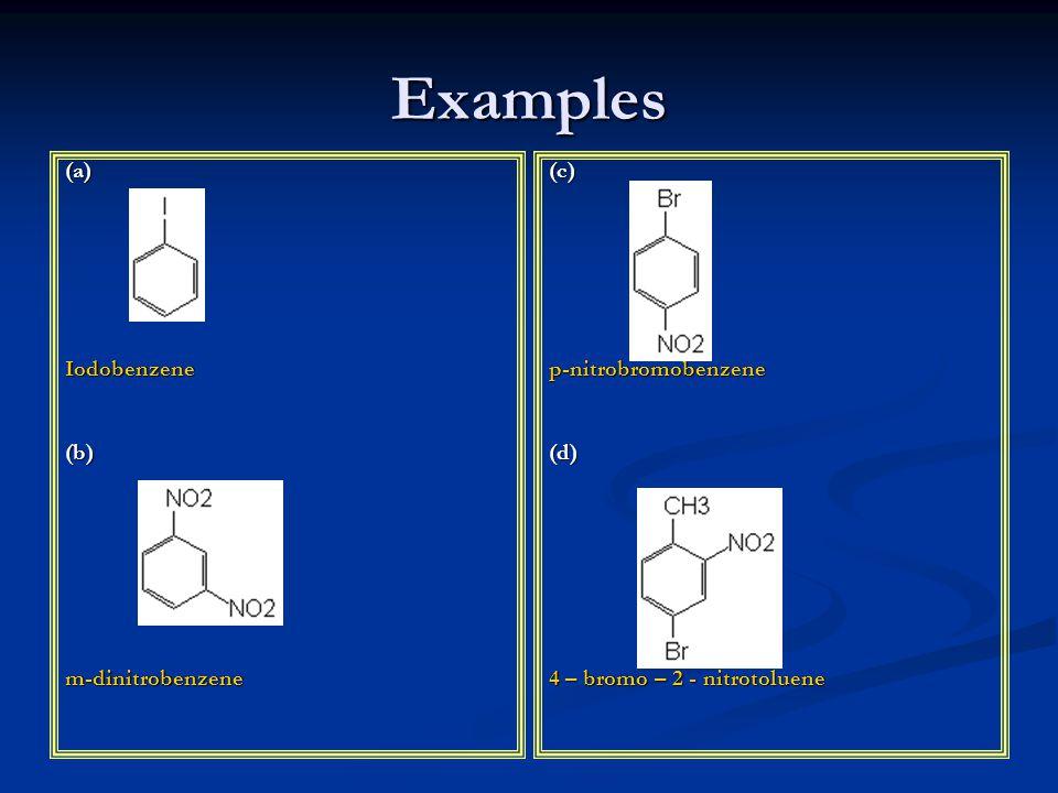 Examples (a)Iodobenzene(b)m-dinitrobenzene (c) p-nitrobromobenzene (d) 4 – bromo – 2 - nitrotoluene